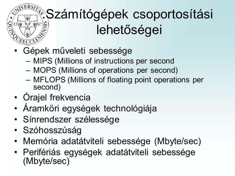 Számítógépek csoportosítási lehetőségei Gépek műveleti sebessége –MIPS (Millions of instructions per second –MOPS (Millions of operations per second)