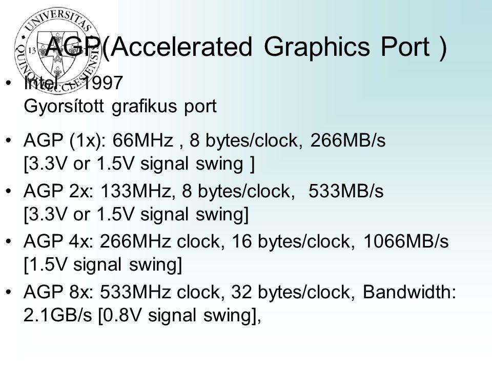 AGP(Accelerated Graphics Port ) Intel – 1997 Gyorsított grafikus port AGP (1x): 66MHz, 8 bytes/clock, 266MB/s [3.3V or 1.5V signal swing ] AGP 2x: 133