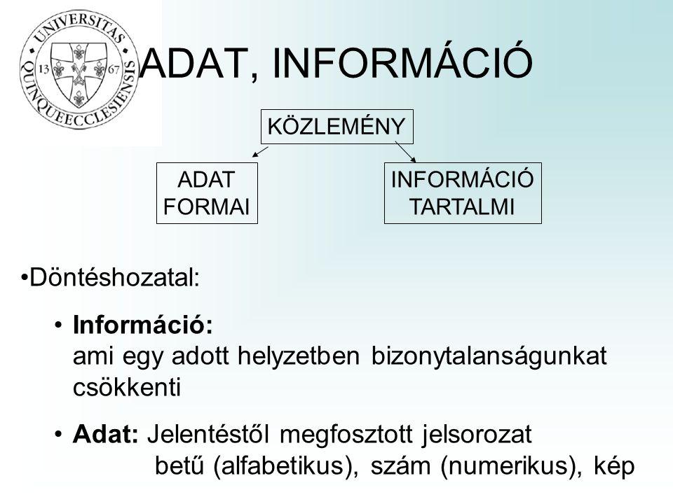 ADAT, INFORMÁCIÓ KÖZLEMÉNY ADAT FORMAI INFORMÁCIÓ TARTALMI Döntéshozatal: Információ: ami egy adott helyzetben bizonytalanságunkat csökkenti Adat: Jel