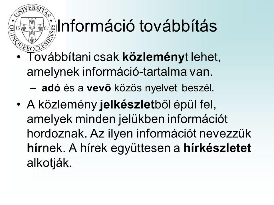 Információ továbbítás Továbbítani csak közleményt lehet, amelynek információ-tartalma van. – adó és a vevő közös nyelvet beszél. A közlemény jelkészle