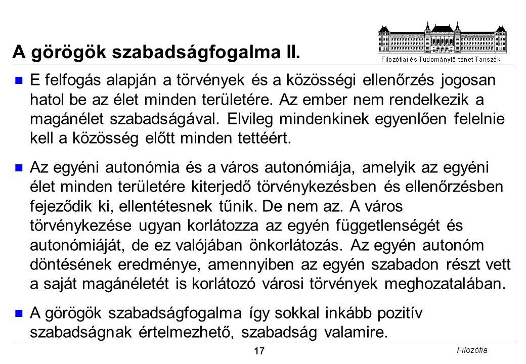 17 Filozófia A görögök szabadságfogalma II.