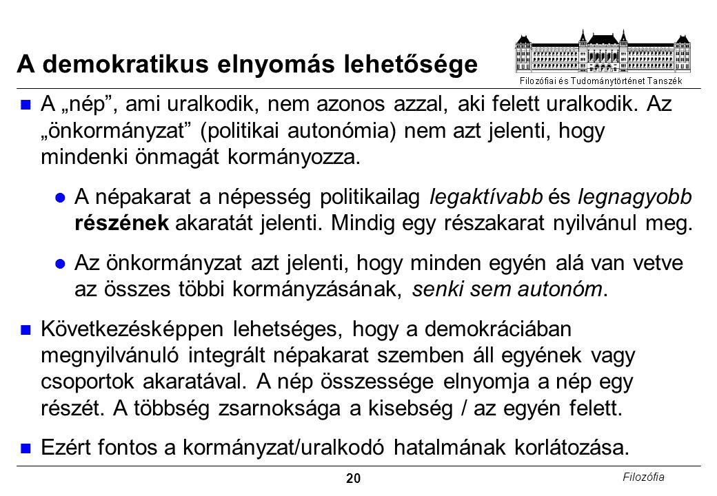 """20 Filozófia A demokratikus elnyomás lehetősége A """"nép , ami uralkodik, nem azonos azzal, aki felett uralkodik."""