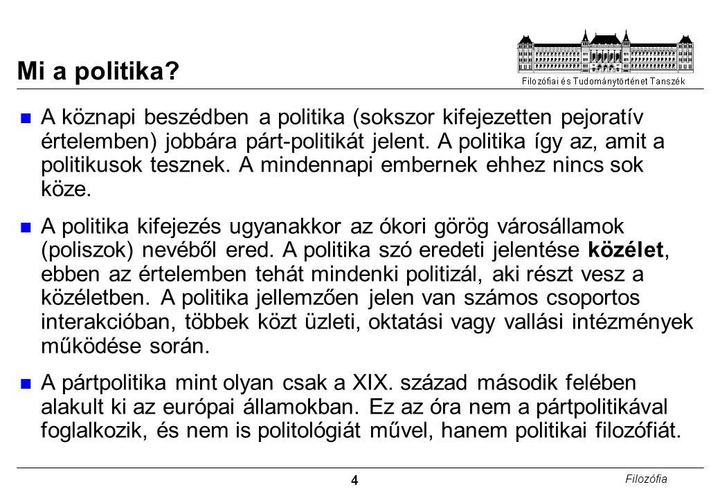 5 Filozófia A politikafilozófia alapkérdései A politika meghatározza az életünket.