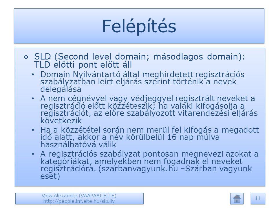 Felépítés  SLD (Second level domain; másodlagos domain): TLD előtti pont előtt áll Domain Nyilvántartó által meghirdetett regisztrációs szabályzatban leírt eljárás szerint történik a nevek delegálása A nem cégnévvel vagy védjeggyel regisztrált neveket a regisztráció előtt közzéteszik; ha valaki kifogásolja a regisztrációt, az előre szabályozott vitarendezési eljárás következik Ha a közzététel során nem merül fel kifogás a megadott idő alatt, akkor a név körülbelül 16 nap múlva használhatóvá válik A regisztrációs szabályzat pontosan megnevezi azokat a kategóriákat, amelyekben nem fogadnak el neveket regisztrációra.