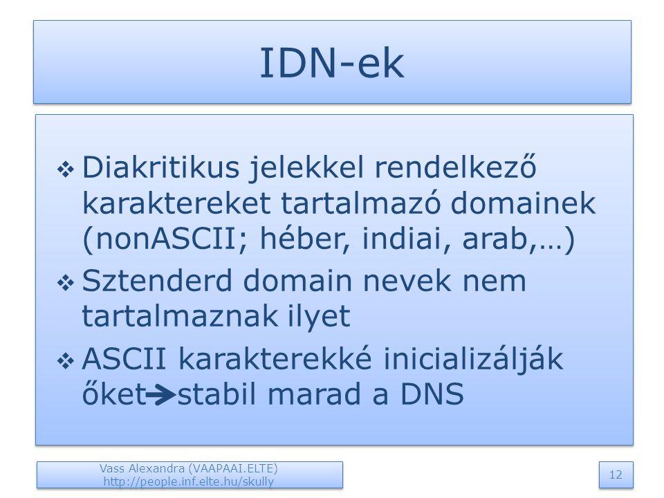 IDN-ek  Diakritikus jelekkel rendelkező karaktereket tartalmazó domainek (nonASCII; héber, indiai, arab,…)  Sztenderd domain nevek nem tartalmaznak ilyet  ASCII karakterekké inicializálják őket stabil marad a DNS  Diakritikus jelekkel rendelkező karaktereket tartalmazó domainek (nonASCII; héber, indiai, arab,…)  Sztenderd domain nevek nem tartalmaznak ilyet  ASCII karakterekké inicializálják őket stabil marad a DNS Vass Alexandra (VAAPAAI.ELTE) http://people.inf.elte.hu/skully 12