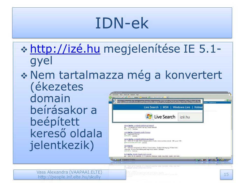 IDN-ek  http://izé.hu megjelenítése IE 5.1- gyel http://izé.hu  Nem tartalmazza még a konvertert (ékezetes domain beírásakor a beépített kereső oldala jelentkezik)  http://izé.hu megjelenítése IE 5.1- gyel http://izé.hu  Nem tartalmazza még a konvertert (ékezetes domain beírásakor a beépített kereső oldala jelentkezik) Vass Alexandra (VAAPAAI.ELTE) http://people.inf.elte.hu/skully 15