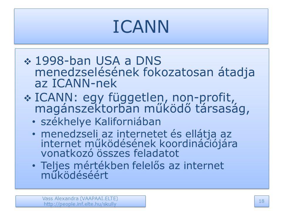 ICANN  1998-ban USA a DNS menedzselésének fokozatosan átadja az ICANN-nek  ICANN: egy független, non-profit, magánszektorban működő társaság, székhelye Kaliforniában menedzseli az internetet és ellátja az internet működésének koordinációjára vonatkozó összes feladatot Teljes mértékben felelős az internet működéséért  1998-ban USA a DNS menedzselésének fokozatosan átadja az ICANN-nek  ICANN: egy független, non-profit, magánszektorban működő társaság, székhelye Kaliforniában menedzseli az internetet és ellátja az internet működésének koordinációjára vonatkozó összes feladatot Teljes mértékben felelős az internet működéséért Vass Alexandra (VAAPAAI.ELTE) http://people.inf.elte.hu/skully 18