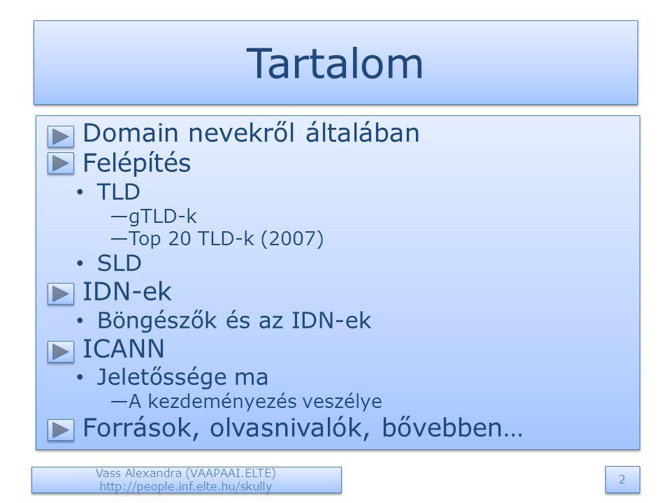  Domain nevekről általában  Felépítés TLD —gTLD-k —Top 20 TLD-k (2007) SLD  IDN-ek Böngészők és az IDN-ek  ICANN Jeletőssége ma —A kezdeményezés veszélye  Források, olvasnivalók, bővebben…  Domain nevekről általában  Felépítés TLD —gTLD-k —Top 20 TLD-k (2007) SLD  IDN-ek Böngészők és az IDN-ek  ICANN Jeletőssége ma —A kezdeményezés veszélye  Források, olvasnivalók, bővebben… Tartalom Vass Alexandra (VAAPAAI.ELTE) http://people.inf.elte.hu/skully 2 2