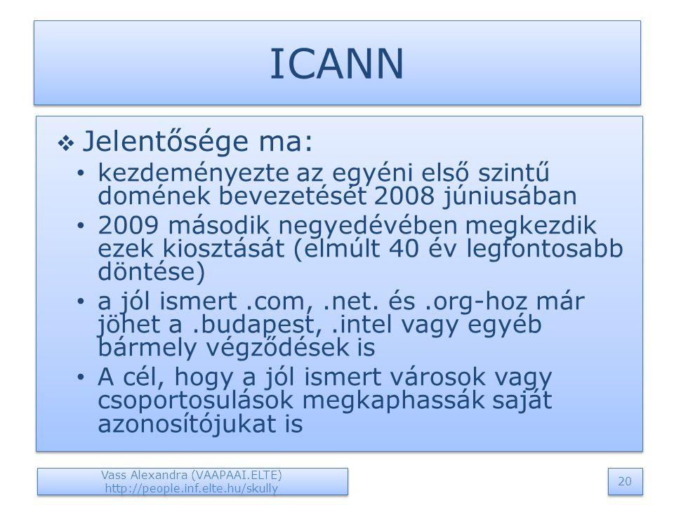 ICANN  Jelentősége ma: kezdeményezte az egyéni első szintű domének bevezetését 2008 júniusában 2009 második negyedévében megkezdik ezek kiosztását (elmúlt 40 év legfontosabb döntése) a jól ismert.com,.net.