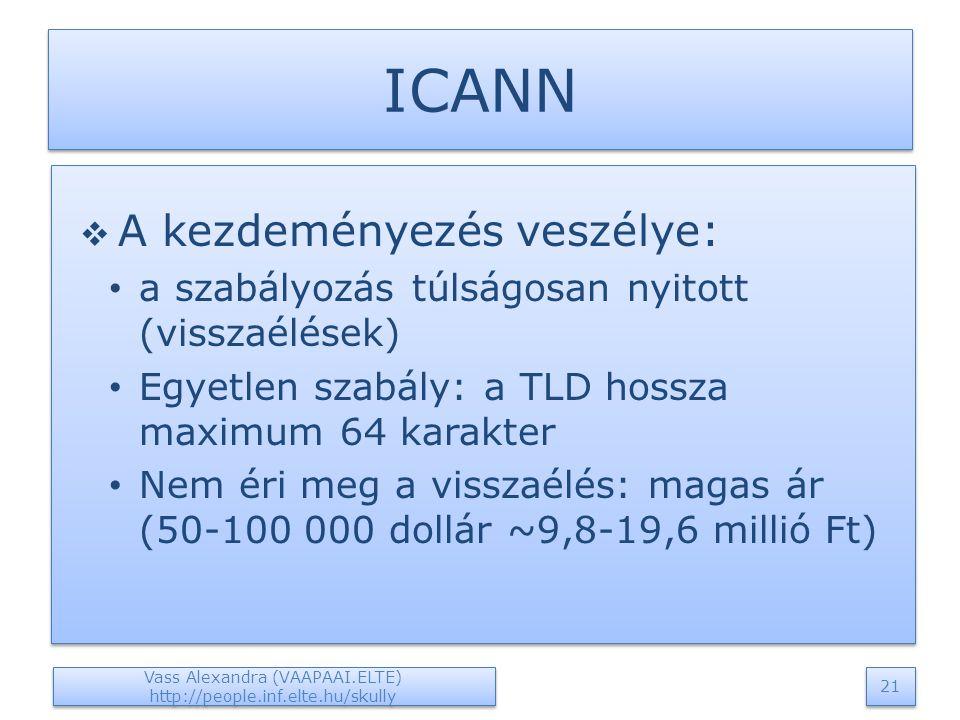 ICANN  A kezdeményezés veszélye: a szabályozás túlságosan nyitott (visszaélések) Egyetlen szabály: a TLD hossza maximum 64 karakter Nem éri meg a visszaélés: magas ár (50-100 000 dollár ~9,8-19,6 millió Ft)  A kezdeményezés veszélye: a szabályozás túlságosan nyitott (visszaélések) Egyetlen szabály: a TLD hossza maximum 64 karakter Nem éri meg a visszaélés: magas ár (50-100 000 dollár ~9,8-19,6 millió Ft) Vass Alexandra (VAAPAAI.ELTE) http://people.inf.elte.hu/skully 21