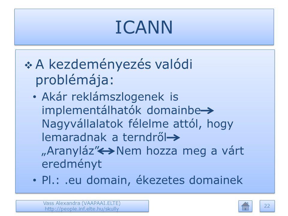 """ICANN  A kezdeményezés valódi problémája: Akár reklámszlogenek is implementálhatók domainbe Nagyvállalatok félelme attól, hogy lemaradnak a terndről """"Aranyláz Nem hozza meg a várt eredményt Pl.:.eu domain, ékezetes domainek  A kezdeményezés valódi problémája: Akár reklámszlogenek is implementálhatók domainbe Nagyvállalatok félelme attól, hogy lemaradnak a terndről """"Aranyláz Nem hozza meg a várt eredményt Pl.:.eu domain, ékezetes domainek Vass Alexandra (VAAPAAI.ELTE) http://people.inf.elte.hu/skully 22"""