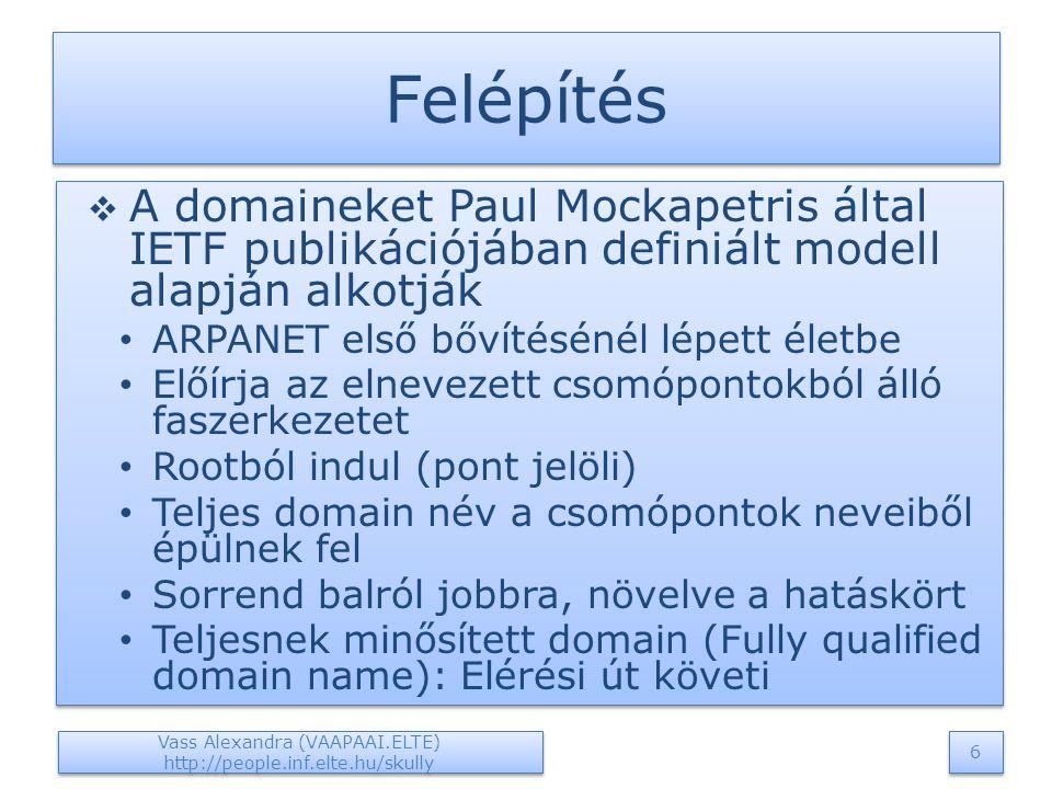Felépítés  A domaineket Paul Mockapetris által IETF publikációjában definiált modell alapján alkotják ARPANET első bővítésénél lépett életbe Előírja az elnevezett csomópontokból álló faszerkezetet Rootból indul (pont jelöli) Teljes domain név a csomópontok neveiből épülnek fel Sorrend balról jobbra, növelve a hatáskört Teljesnek minősített domain (Fully qualified domain name): Elérési út követi  A domaineket Paul Mockapetris által IETF publikációjában definiált modell alapján alkotják ARPANET első bővítésénél lépett életbe Előírja az elnevezett csomópontokból álló faszerkezetet Rootból indul (pont jelöli) Teljes domain név a csomópontok neveiből épülnek fel Sorrend balról jobbra, növelve a hatáskört Teljesnek minősített domain (Fully qualified domain name): Elérési út követi Vass Alexandra (VAAPAAI.ELTE) http://people.inf.elte.hu/skully 6 6