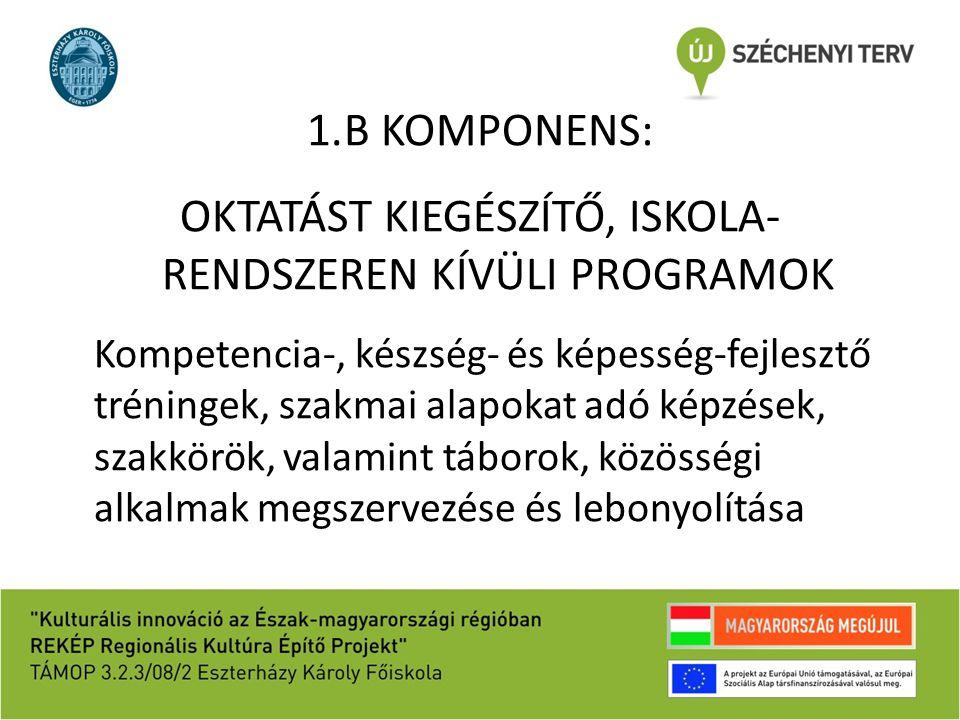 1.B KOMPONENS: OKTATÁST KIEGÉSZÍTŐ, ISKOLA- RENDSZEREN KÍVÜLI PROGRAMOK Kompetencia-, készség- és képesség-fejlesztő tréningek, szakmai alapokat adó képzések, szakkörök, valamint táborok, közösségi alkalmak megszervezése és lebonyolítása
