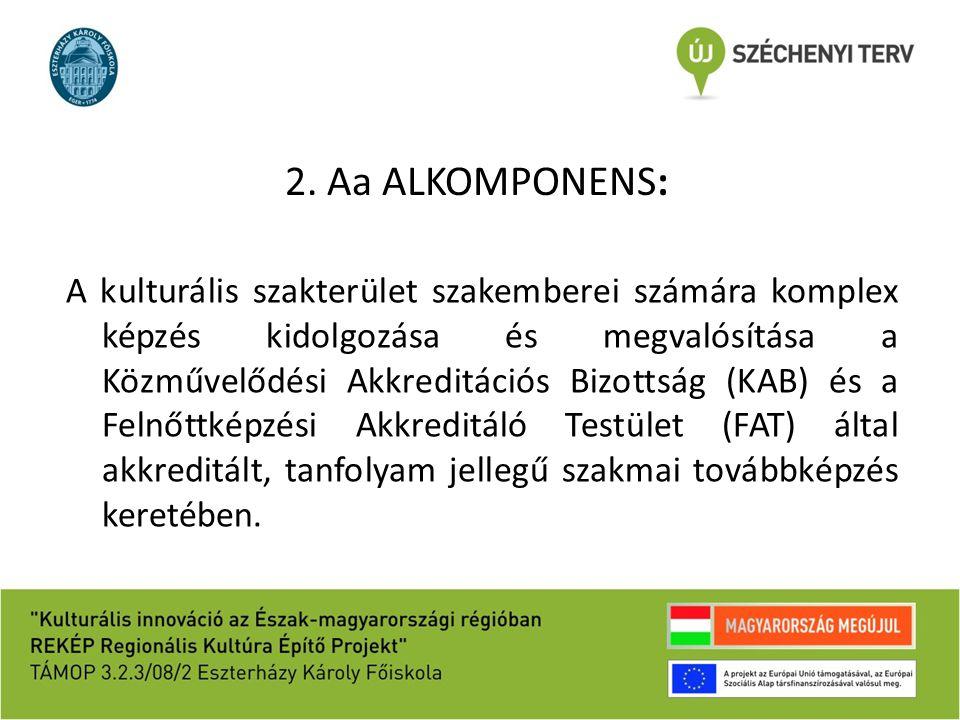 2. Aa ALKOMPONENS: A kulturális szakterület szakemberei számára komplex képzés kidolgozása és megvalósítása a Közművelődési Akkreditációs Bizottság (K