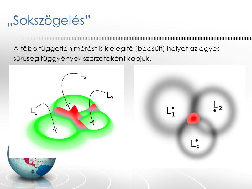 """""""Sokszögelés"""" A több független mérést is kielégítő (becsült) helyet az egyes sűrűség függvények szorzataként kapjuk."""