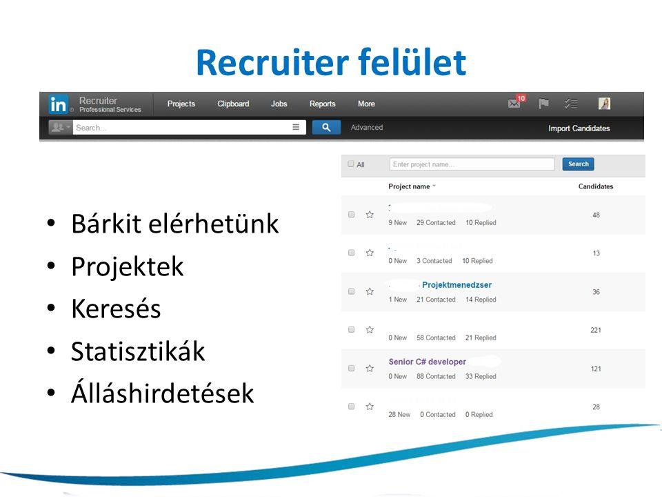 Recruiter felület Bárkit elérhetünk Projektek Keresés Statisztikák Álláshirdetések