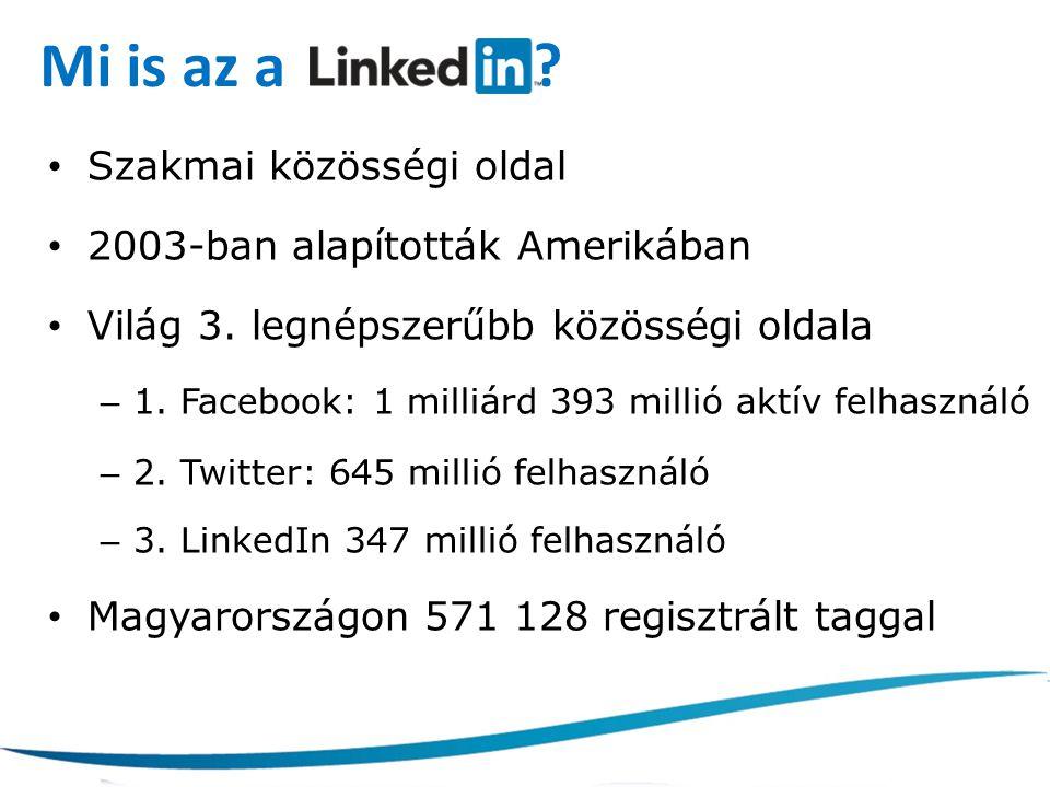 Mi is az a ? Szakmai közösségi oldal 2003-ban alapították Amerikában Világ 3. legnépszerűbb közösségi oldala – 1. Facebook: 1 milliárd 393 millió aktí