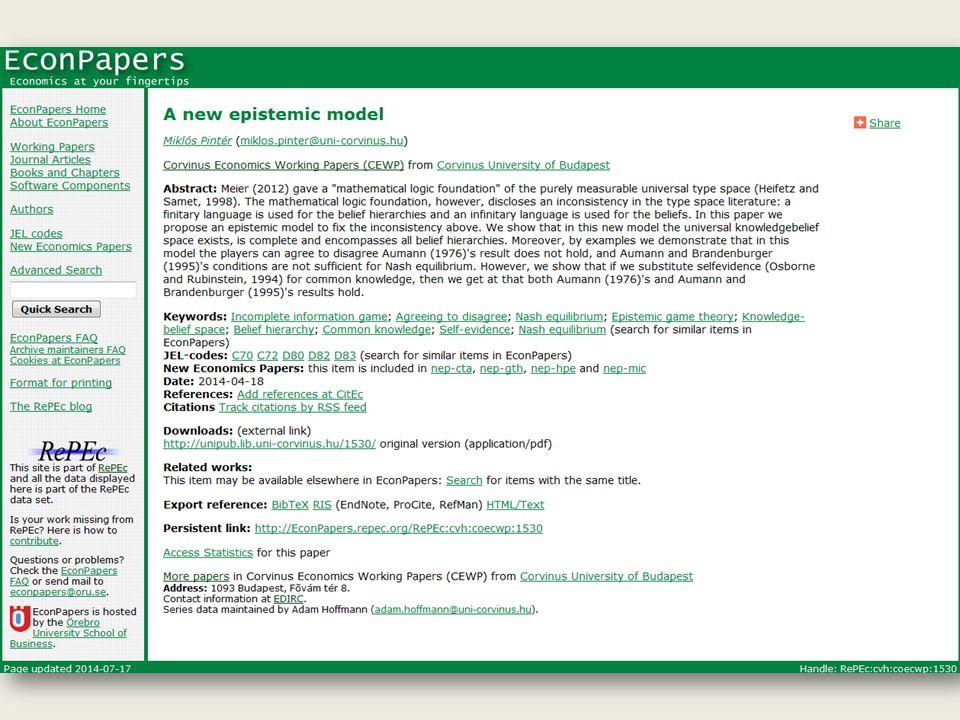 A közelmúlt újdonságai JEL Classification (párhuzamos tárgyszó rendszerként) IRStat statisztikai rendszer