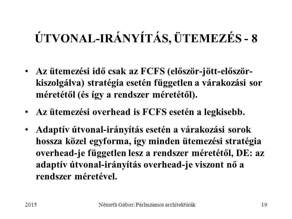 2015Németh Gábor: Párhuzamos architektúrák19 ÚTVONAL-IRÁNYÍTÁS, ÜTEMEZÉS - 8 Az ütemezési idő csak az FCFS (először-jött-először- kiszolgálva) stratégia esetén független a várakozási sor méretétől (és így a rendszer méretétől).