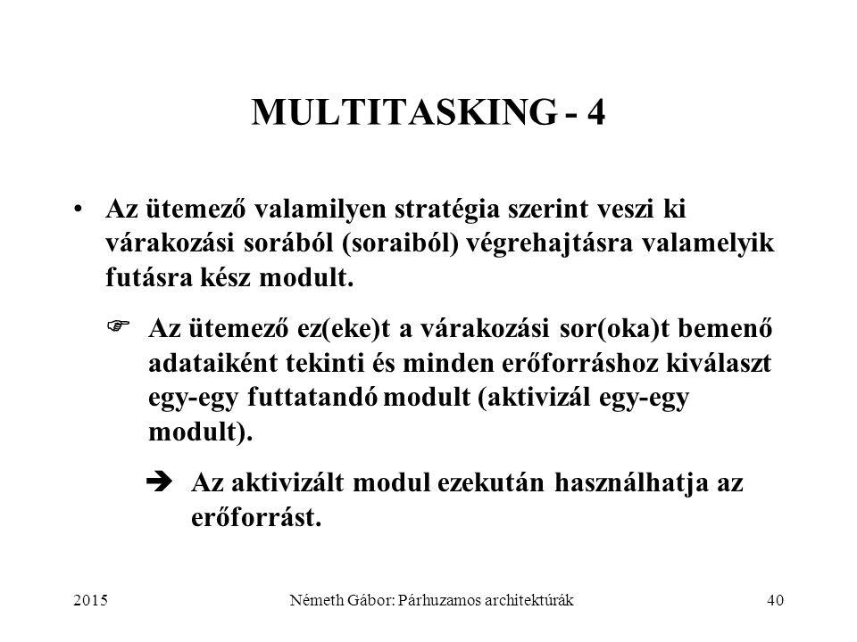 2015Németh Gábor: Párhuzamos architektúrák40 MULTITASKING - 4 Az ütemező valamilyen stratégia szerint veszi ki várakozási sorából (soraiból) végrehajtásra valamelyik futásra kész modult.