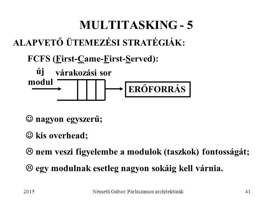 2015Németh Gábor: Párhuzamos architektúrák41 MULTITASKING - 5 FCFS (First-Came-First-Served): ALAPVETŐ ÜTEMEZÉSI STRATÉGIÁK: nagyon egyszerű; kis overhead;  nem veszi figyelembe a modulok (taszkok) fontosságát;  egy modulnak esetleg nagyon sokáig kell várnia.