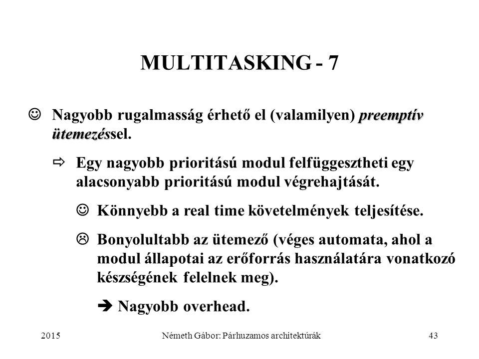 2015Németh Gábor: Párhuzamos architektúrák43 MULTITASKING - 7 preemptív ütemezés Nagyobb rugalmasság érhető el (valamilyen) preemptív ütemezéssel.