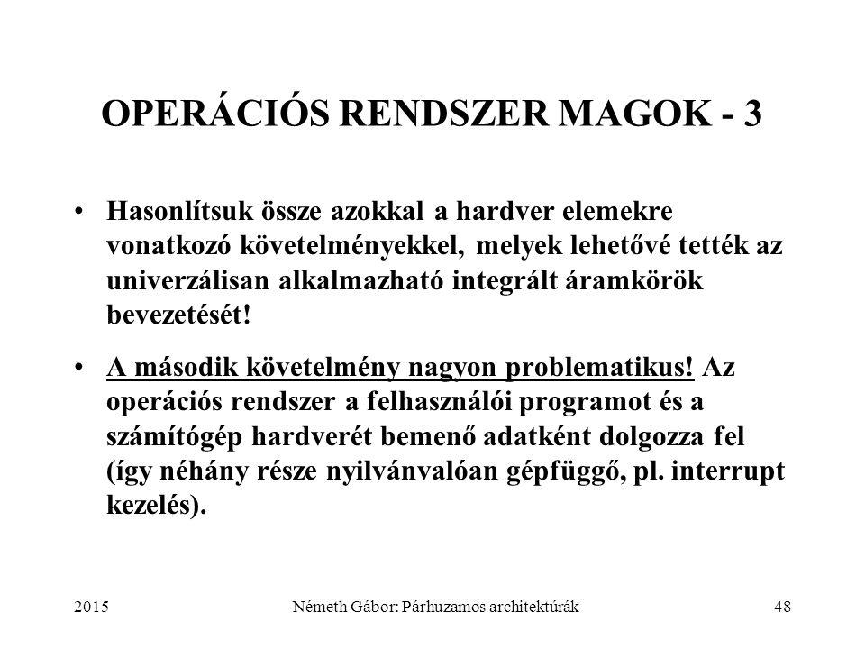 2015Németh Gábor: Párhuzamos architektúrák48 OPERÁCIÓS RENDSZER MAGOK - 3 Hasonlítsuk össze azokkal a hardver elemekre vonatkozó követelményekkel, mel