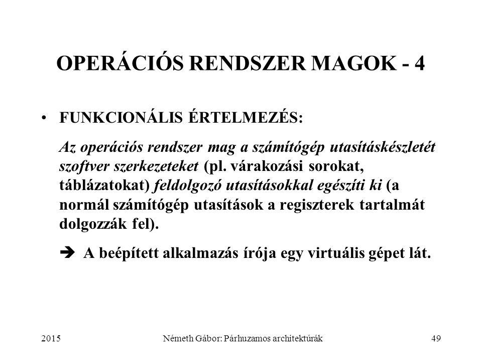 2015Németh Gábor: Párhuzamos architektúrák49 OPERÁCIÓS RENDSZER MAGOK - 4 FUNKCIONÁLIS ÉRTELMEZÉS: Az operációs rendszer mag a számítógép utasításkészletét szoftver szerkezeteket (pl.