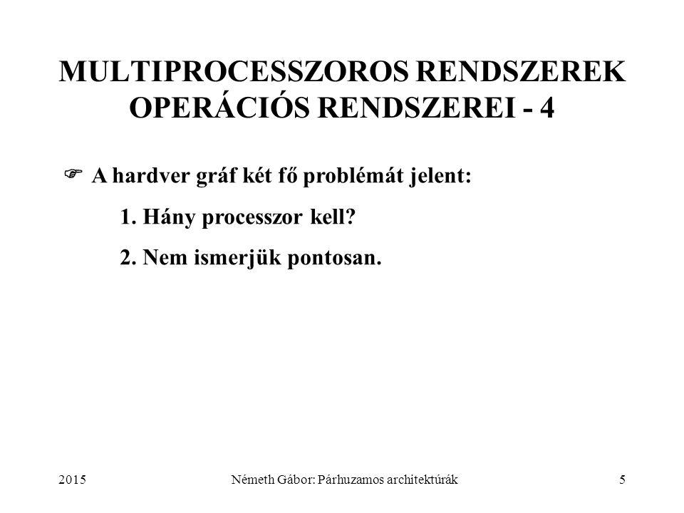 2015Németh Gábor: Párhuzamos architektúrák6 MULTIPROCESSZOROS RENDSZEREK OPERÁCIÓS RENDSZEREI - 5 1.Tervezéskor: a megoldandó feladatosztályok esetén mekkora legyen a processzorok (és logikai és fizikai összeköttetéseik) optimális száma.