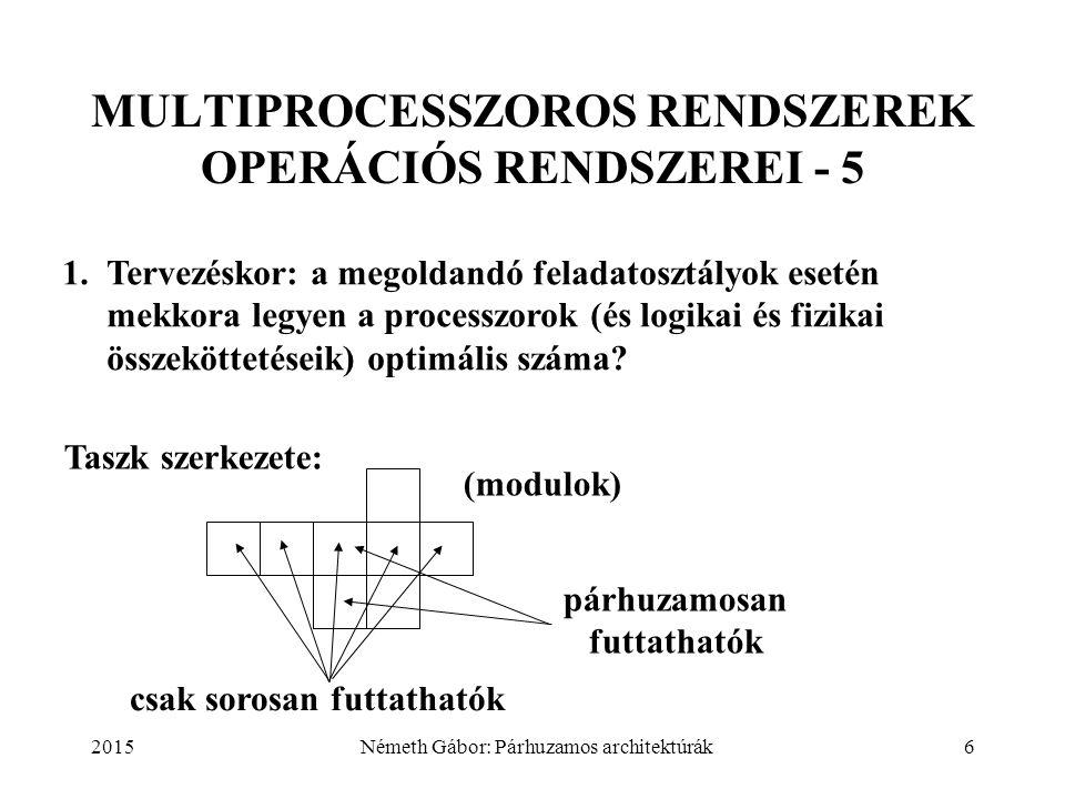 2015Németh Gábor: Párhuzamos architektúrák7 MULTIPROCESSZOROS RENDSZEREK OPERÁCIÓS RENDSZEREI - 6 Amdahl törvénye: P azonos processzor esetén elérhető átbocsátóképesség növekedés, ha a taszk f hányadát sorosan kell végrehajtani Erre szoktak hivatkozni, mint korlátozó tényezőre, azonban sok, gyakorlatban fontos feladatosztály esetén f = f(P) a P csökkenő függvénye!
