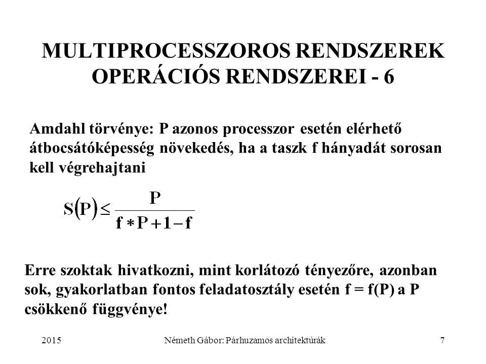 2015Németh Gábor: Párhuzamos architektúrák7 MULTIPROCESSZOROS RENDSZEREK OPERÁCIÓS RENDSZEREI - 6 Amdahl törvénye: P azonos processzor esetén elérhető
