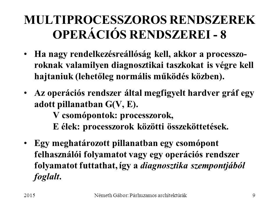 2015Németh Gábor: Párhuzamos architektúrák9 MULTIPROCESSZOROS RENDSZEREK OPERÁCIÓS RENDSZEREI - 8 Ha nagy rendelkezésreállóság kell, akkor a processzo