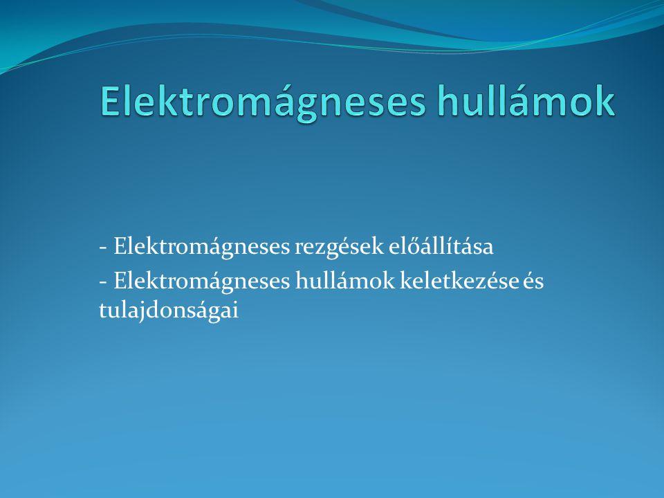 - Elektromágneses rezgések előállítása - Elektromágneses hullámok keletkezése és tulajdonságai