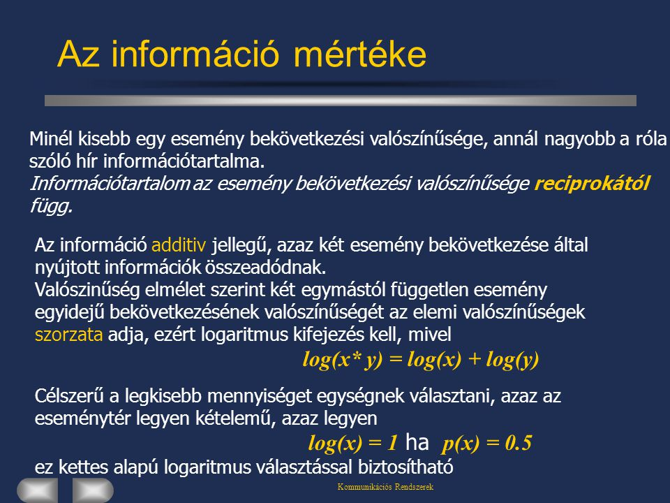 Kommunikációs Rendszerek Az információ mértéke Minél kisebb egy esemény bekövetkezési valószínűsége, annál nagyobb a róla szóló hír információtartalma.