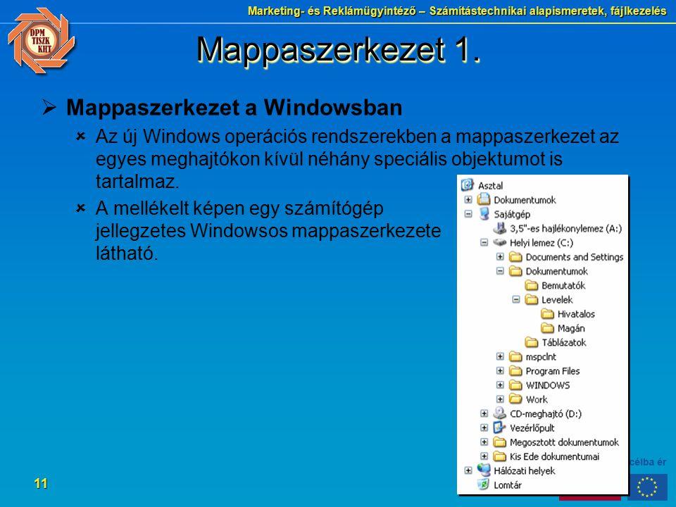 Marketing- és Reklámügyintéző – Számítástechnikai alapismeretek, fájlkezelés 11 Mappaszerkezet 1.  Mappaszerkezet a Windowsban  Az új Windows operác