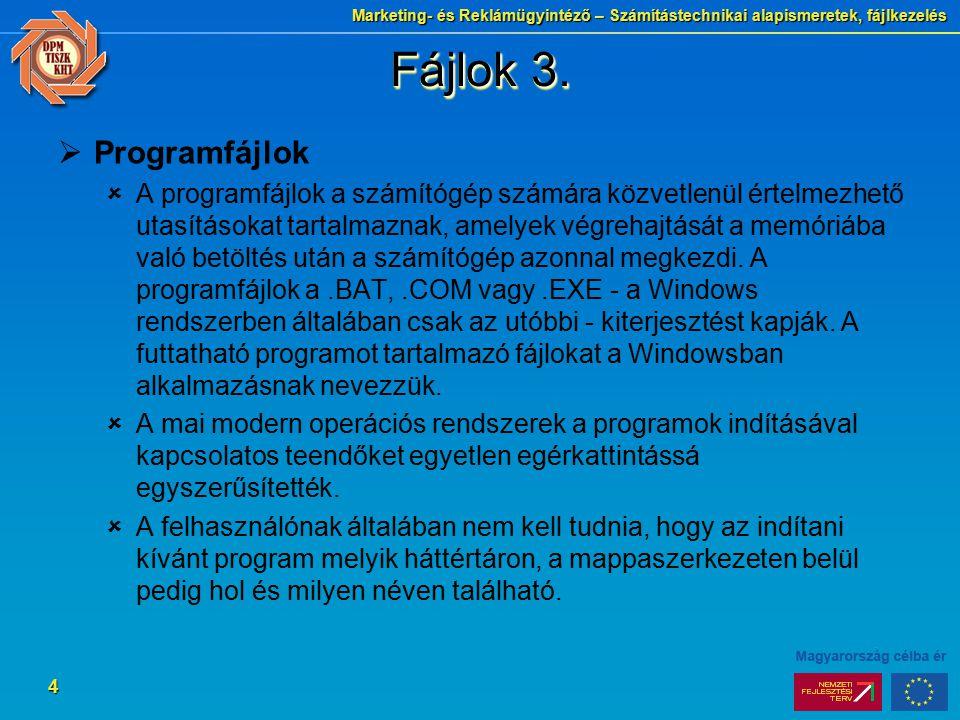 Marketing- és Reklámügyintéző – Számítástechnikai alapismeretek, fájlkezelés 4 Fájlok 3.  Programfájlok  A programfájlok a számítógép számára közvet