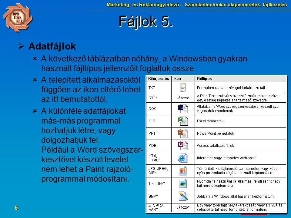 Marketing- és Reklámügyintéző – Számítástechnikai alapismeretek, fájlkezelés 6 Fájlok 5.  Adatfájlok  A következő táblázatban néhány, a Windowsban g