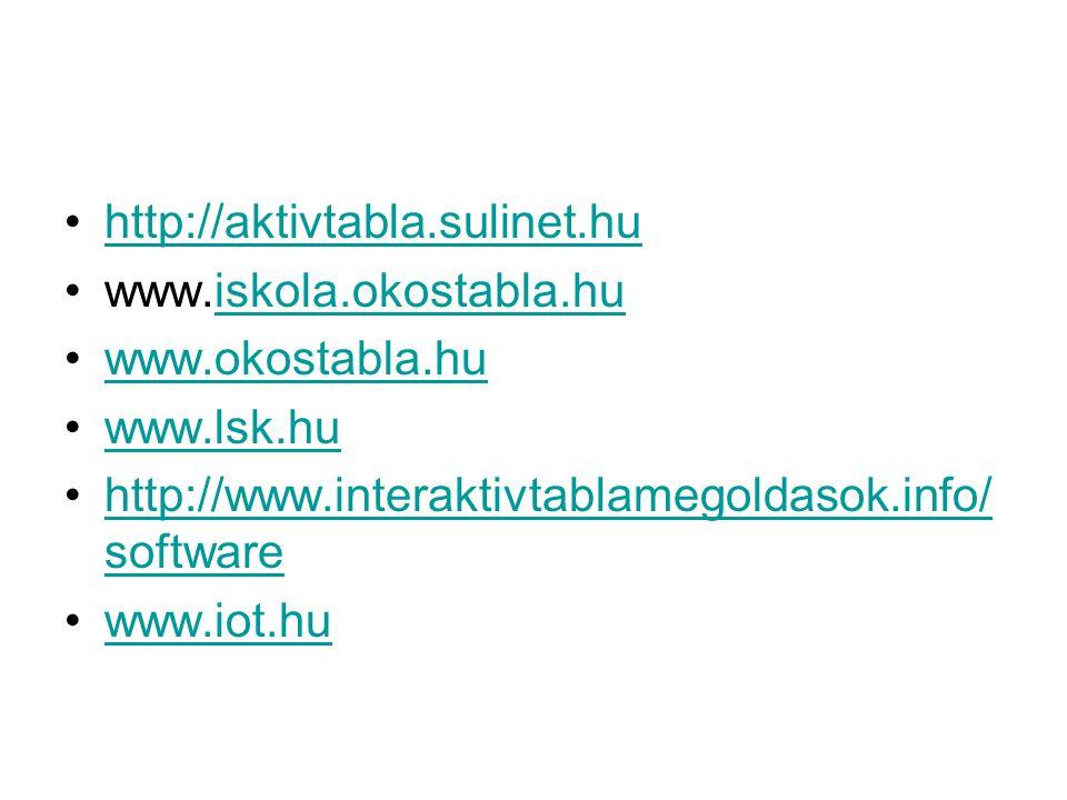 http://aktivtabla.sulinet.hu www.iskola.okostabla.huiskola.okostabla.hu www.okostabla.hu www.lsk.hu http://www.interaktivtablamegoldasok.info/ softwarehttp://www.interaktivtablamegoldasok.info/ software www.iot.hu