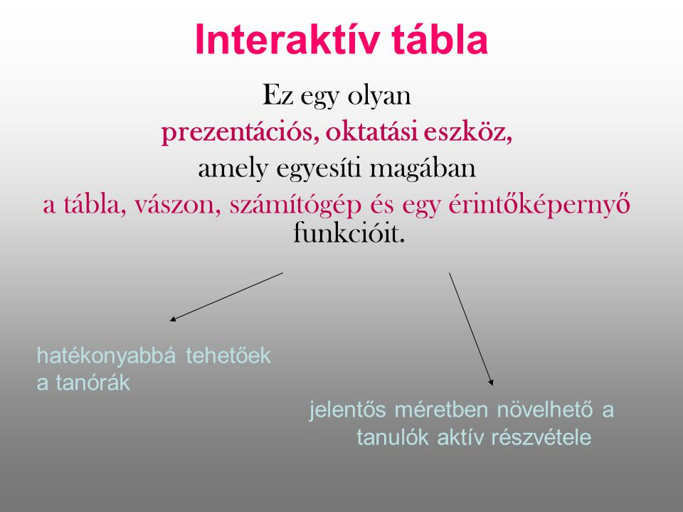 Interaktív tábla Ez egy olyan prezentációs, oktatási eszköz, amely egyesíti magában a tábla, vászon, számítógép és egy érint ő képerny ő funkcióit.