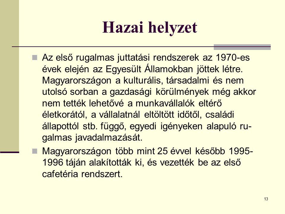 13 Hazai helyzet Az első rugalmas juttatási rendszerek az 1970-es évek elején az Egyesült Államokban jöttek létre. Magyarországon a kulturális, társa