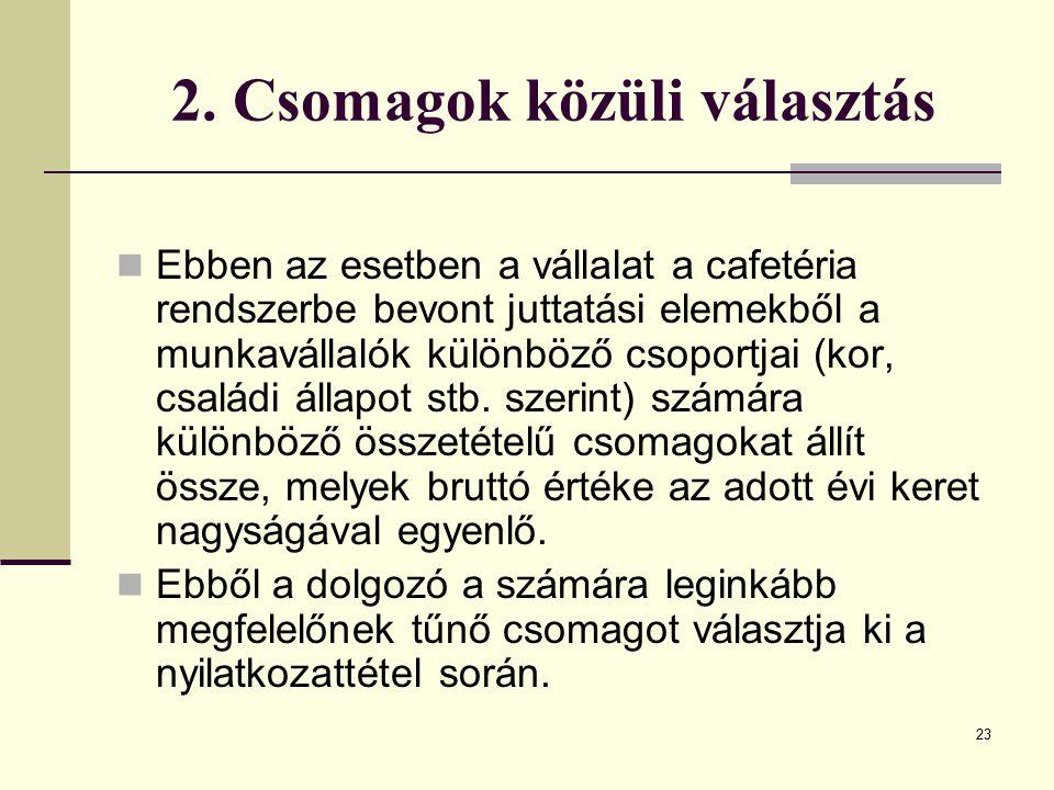 23 2. Csomagok közüli választás Ebben az esetben a vállalat a cafetéria rendszerbe bevont juttatási elemekből a munkavállalók különböző csoportjai (ko