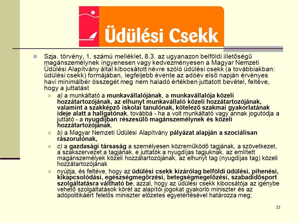33 Szja. törvény, 1. számú melléklet, 8.3. az ugyanazon belföldi illetőségű magánszemélynek ingyenesen vagy kedvezményesen a Magyar Nemzeti Üdülési Al