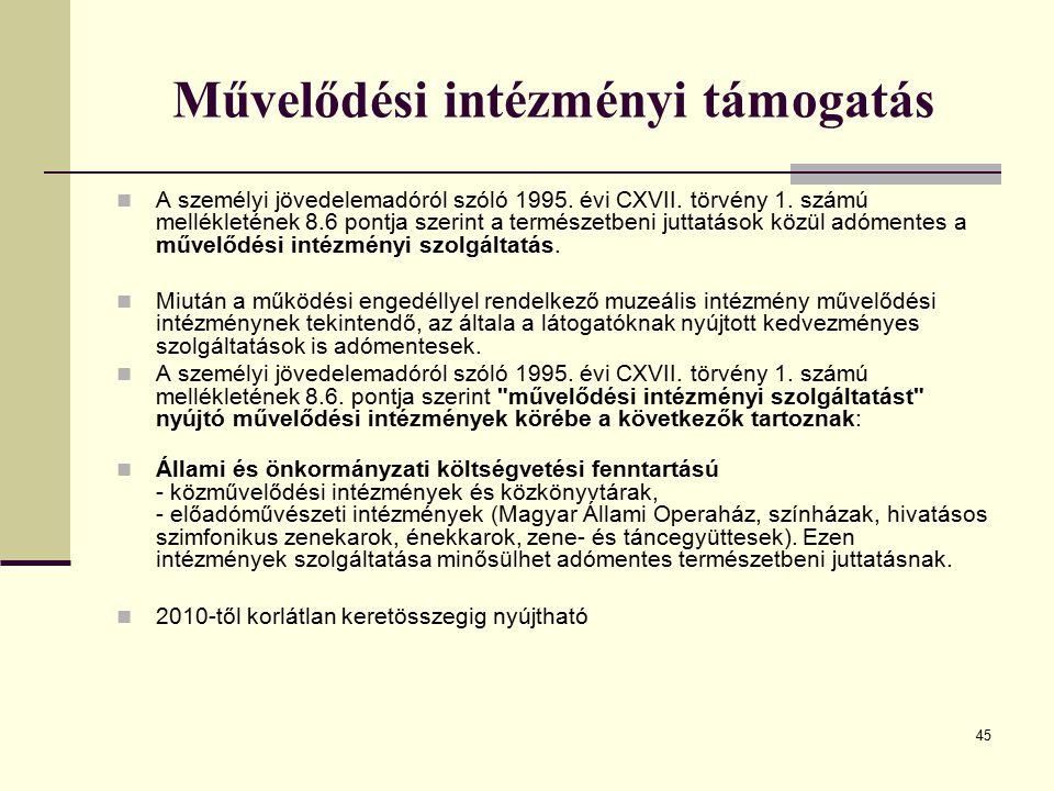 45 Művelődési intézményi támogatás A személyi jövedelemadóról szóló 1995. évi CXVII. törvény 1. számú mellékletének 8.6 pontja szerint a természetbeni