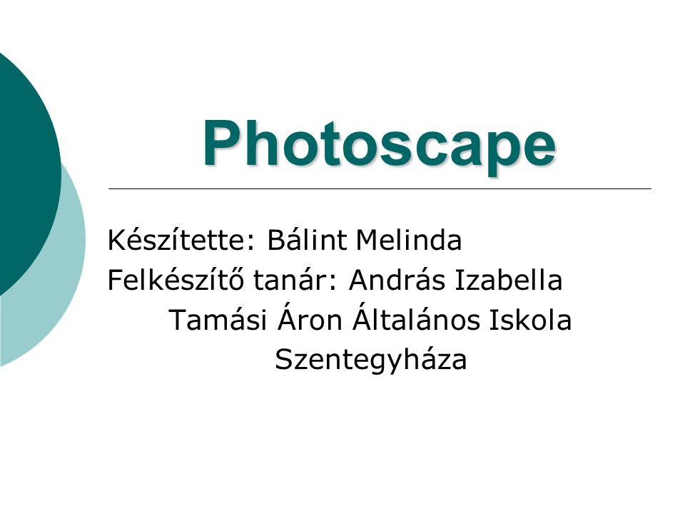 Photoscape Készítette: Bálint Melinda Felkészítő tanár: András Izabella Tamási Áron Általános Iskola Szentegyháza