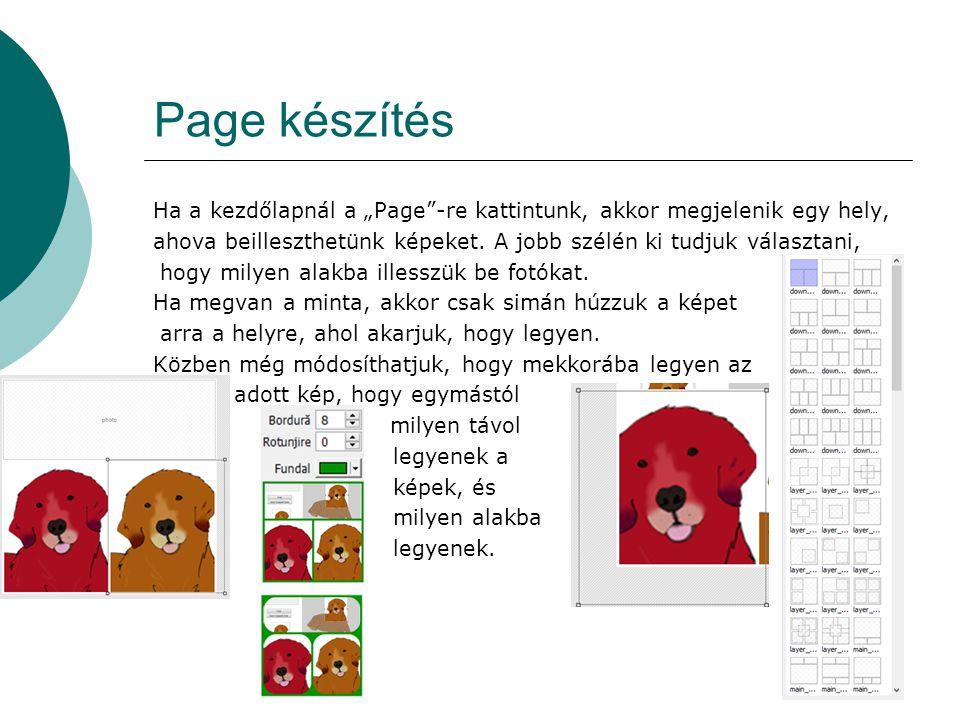 """Page készítés Ha a kezdőlapnál a """"Page""""-re kattintunk, akkor megjelenik egy hely, ahova beilleszthetünk képeket. A jobb szélén ki tudjuk választani, h"""