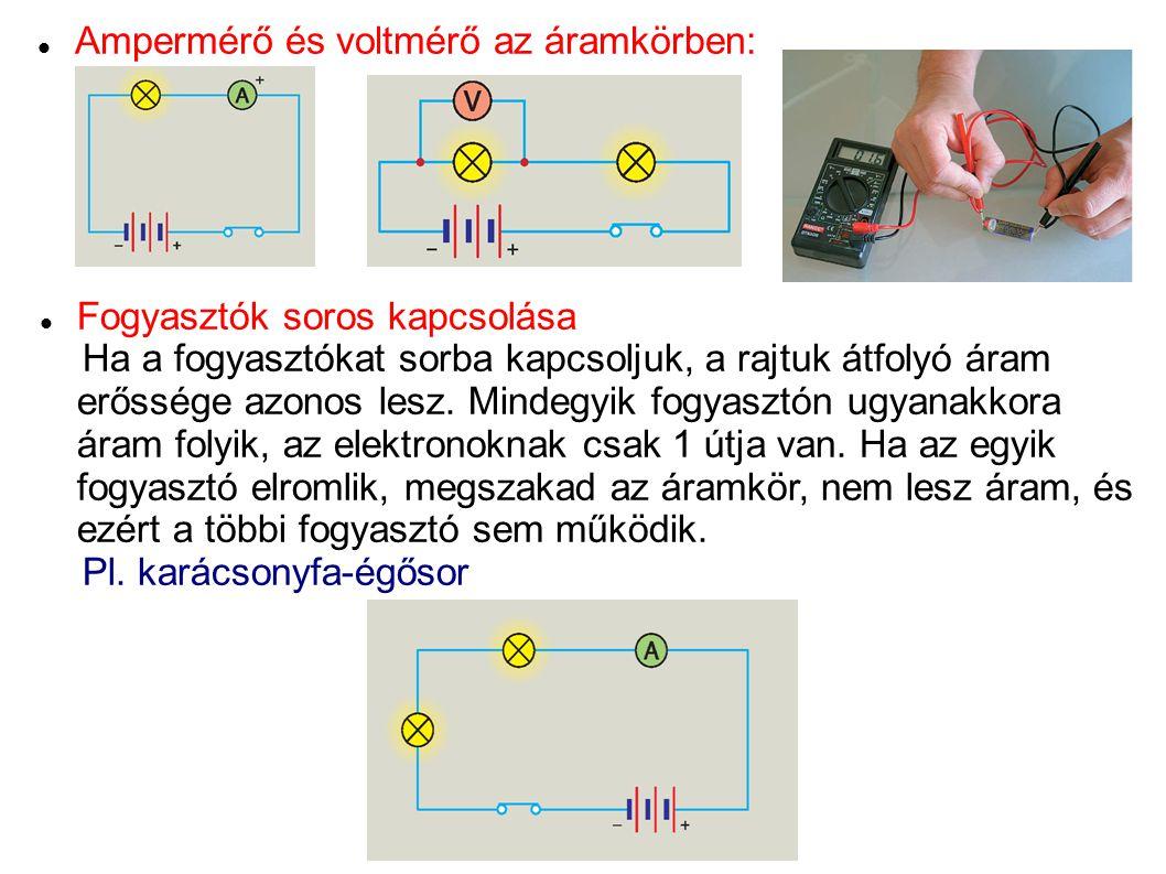 Ampermérő és voltmérő az áramkörben: Fogyasztók soros kapcsolása Ha a fogyasztókat sorba kapcsoljuk, a rajtuk átfolyó áram erőssége azonos lesz. Minde
