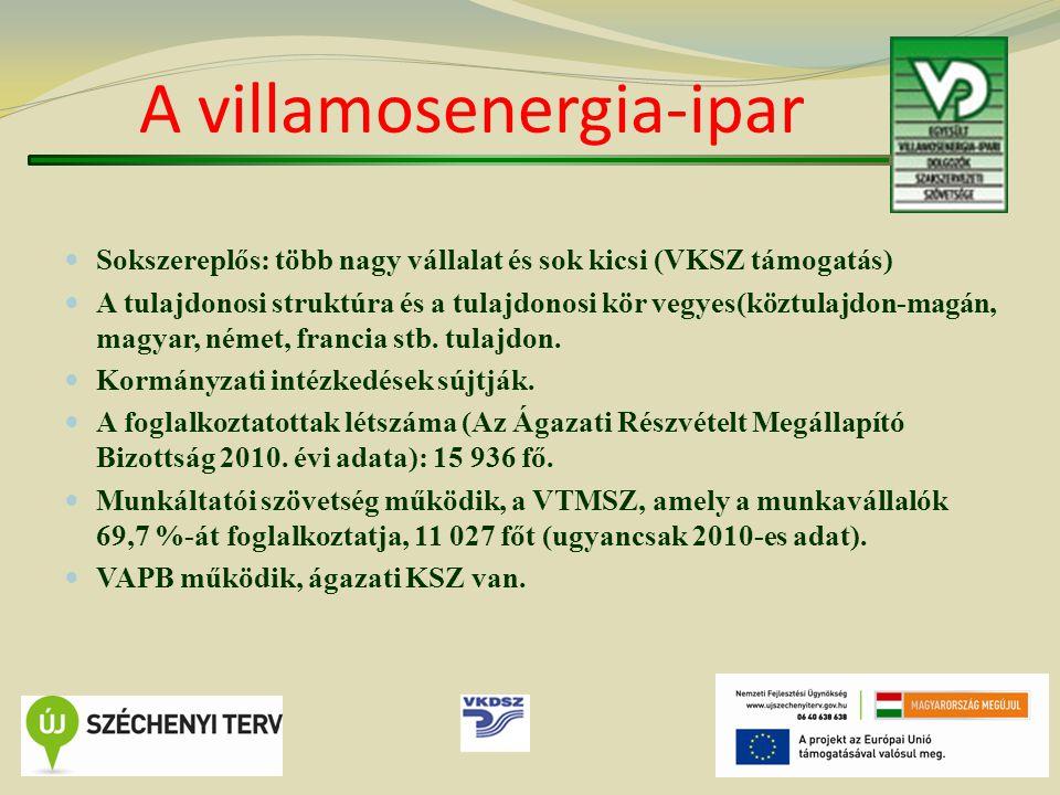 A villamosenergia-ipar Sokszereplős: több nagy vállalat és sok kicsi (VKSZ támogatás) A tulajdonosi struktúra és a tulajdonosi kör vegyes(köztulajdon-magán, magyar, német, francia stb.