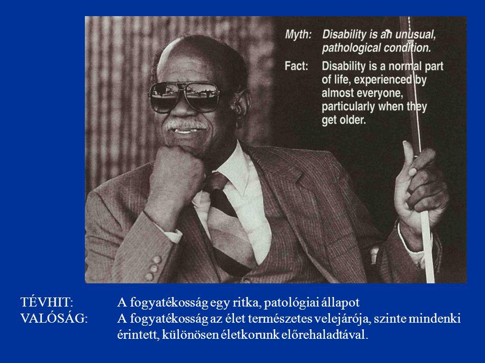 TÉVHIT: A fogyatékosság egy ritka, patológiai állapot VALÓSÁG: A fogyatékosság az élet természetes velejárója, szinte mindenki érintett, különösen életkorunk előrehaladtával.