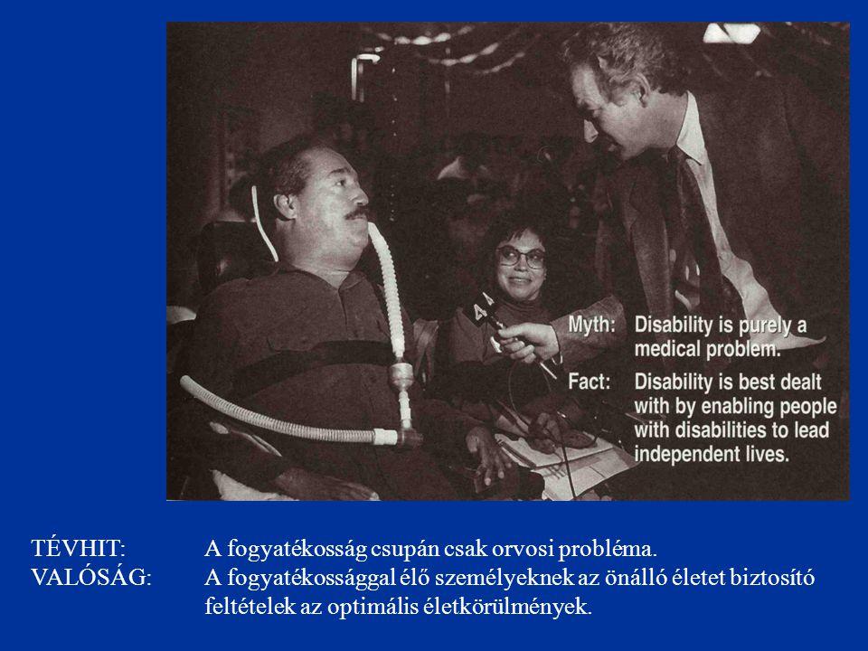 TÉVHIT: A fogyatékosság csupán csak orvosi probléma. VALÓSÁG: A fogyatékossággal élő személyeknek az önálló életet biztosító feltételek az optimális é