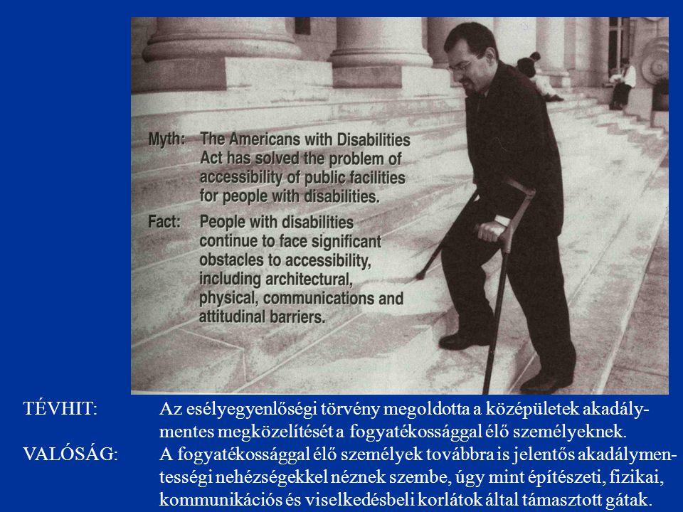 TÉVHIT: Az esélyegyenlőségi törvény megoldotta a középületek akadály- mentes megközelítését a fogyatékossággal élő személyeknek. VALÓSÁG: A fogyatékos
